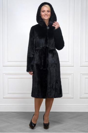 Французское пальто из черной норки с капюшоном 110см.