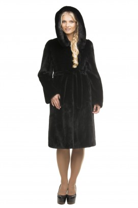 Французское пальто из черной норки с капюшоном 100см.