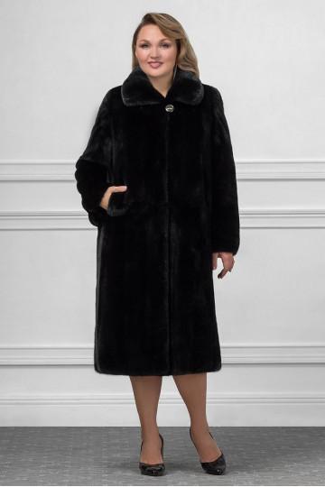 Пальто из чёрной норки ворот апаш 120см.
