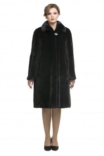 Пальто из черной норки ворот апаш 110см.