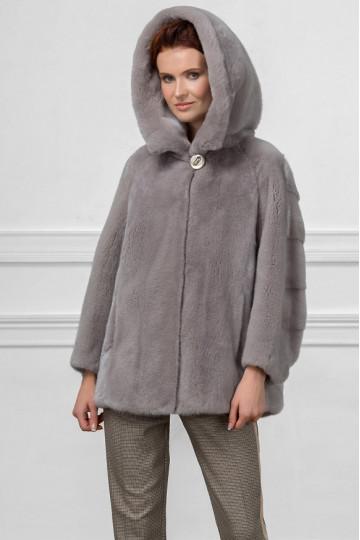 Шуба из серой норки куртка c капюшоном 70см.