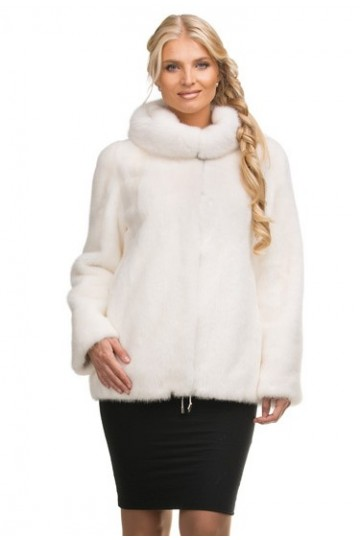 Шуба из белой норки куртка c капюшоном 70см.