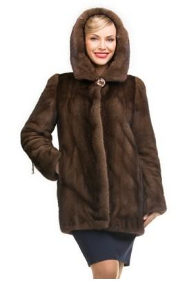 Куртка из норки орех с капюшоном 80см.