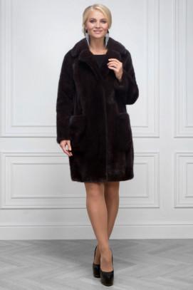 """Пальто из норки """"Бордо"""" английский ворот 95см."""