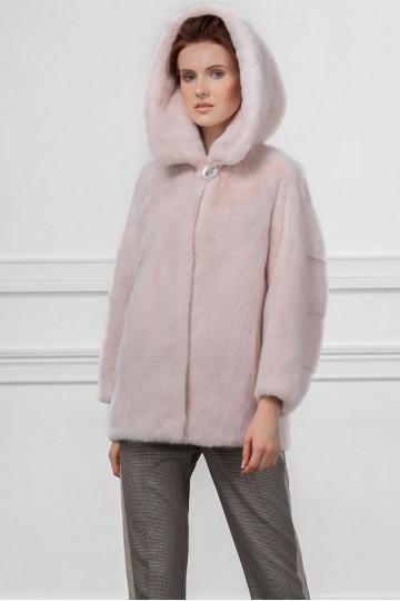 "Куртка из норки с капюшоном цвет ""Пудра"" 70см."