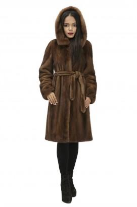 """Французское пальто из норки """"орех"""" с капюшоном 100см."""