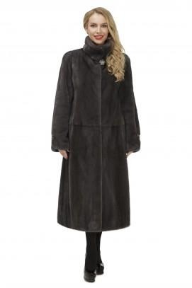 Пальто из норки графит ворот стойка 120см.