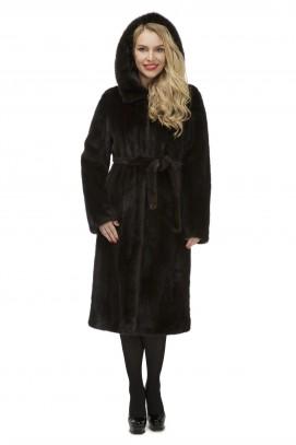 Французское пальто из норки махагон с капюшоном 110см.