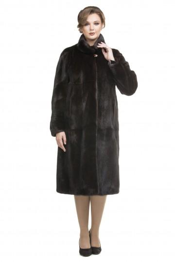 Пальто из норки махагон двойной ворот 115см.