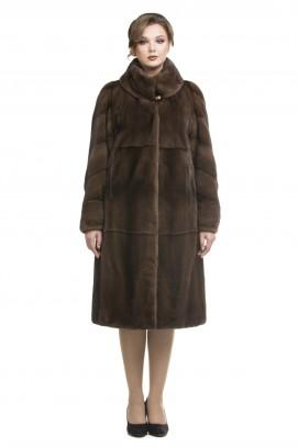 """Пальто из норки """"орех""""  двойной ворот 115см"""