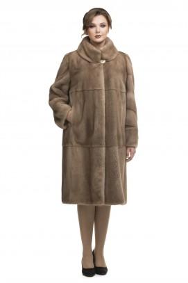 Пальто из норки пастель двойной ворот 115см.