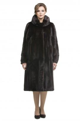 Пальто из норки махагон c капюшоном 115см.
