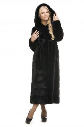 Шуба поперечная из черной норки Black с капюшоном 130см.