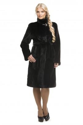 Французское пальто из черной норки ворот стойка 100см.