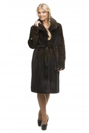 """Английское пальто из норки """"орех"""" 100см."""
