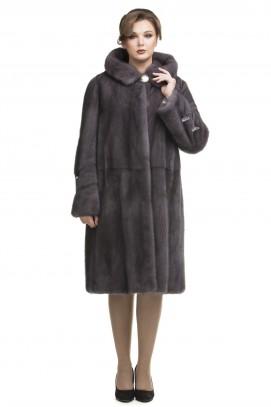 Пальто из норки графит с капюшоном 110см.