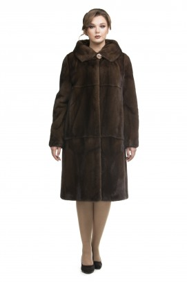 """Пальто из норки """"орех"""" с капюшоном 115см."""