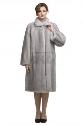 """Пальто из норки цвет """"пепельный"""" ворот апаш 110см."""