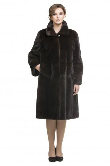 Пальто из норки махагон ворот апаш 110см.