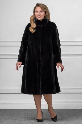 Шуба из норки, пальто с воротом стойка 110см.
