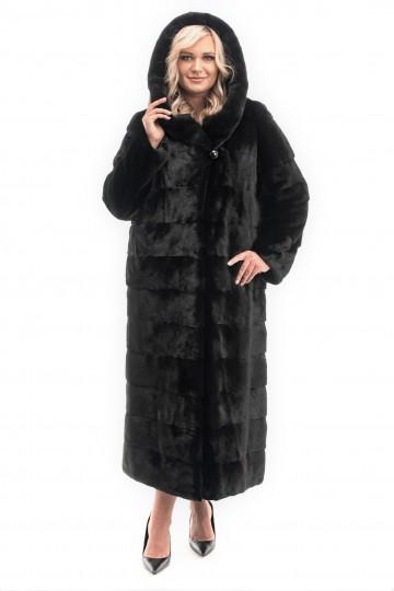 Шуба из норки Black с капюшоном-кобра 130см.