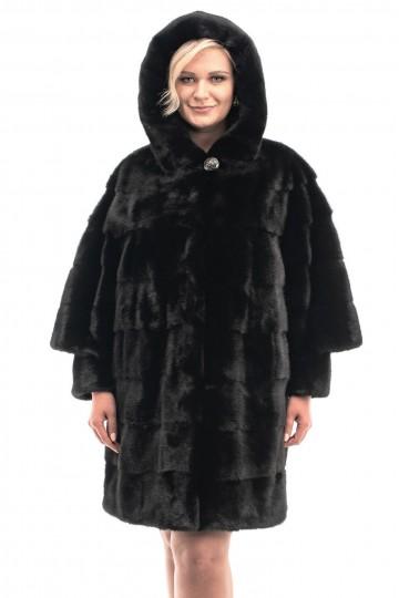 Шуба из норки Black с капюшоном 95-100см.