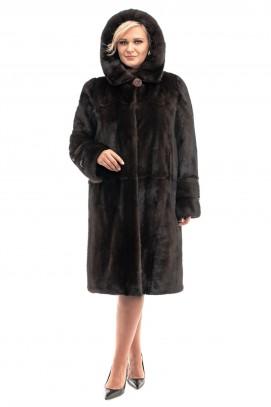 Шуба из норки прямое пальто с капюшоном 110см.