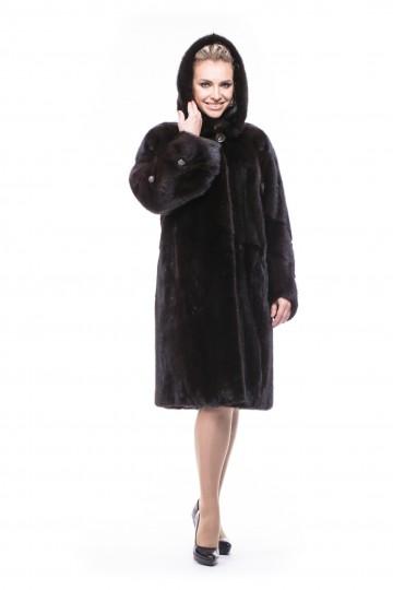 Шуба из норки махагон пальто с капюшоном 100см.