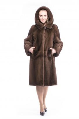 """Пальто из норки """"орех"""" с капюшоном 110см."""