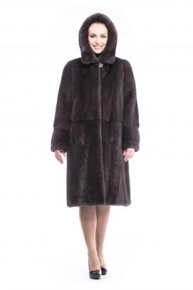 """Шуба из норки пальто """"уголь"""" с капюшоном 110см."""
