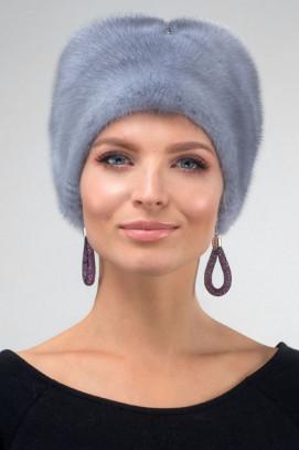 Шапка из норки косынка цвет голубой