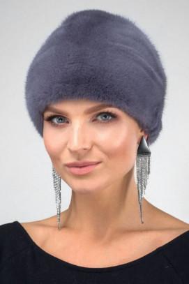 Норковая шапка косынка цвет графит